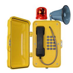 VoIP 터널 방수 산업용 내후성 전화기(외부 경광등 및 후터 옵션 포함