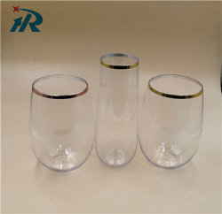 Plastikgoldstempelnwein-Cup der felgen-12oz