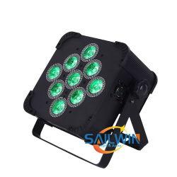 9 * 10W 4in1 DMX 배터리 작동식 무선 LED 평면 조명