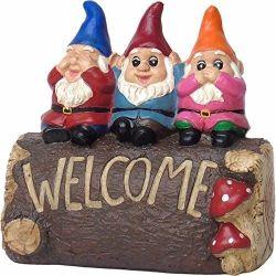 愛らしい歓迎された庭のノームのトリオ、ヤード、芝生の装飾、頑丈な樹脂