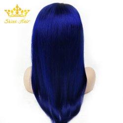 レースの青いカラーまっすぐなブラジルの毛の前部完全なレースのかつら