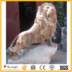 Statua di marmo dentellare naturale del leone di alta qualità per la decorazione del giardino