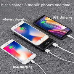 Carregador sem fio móvel Mutifunctional Banco de potência para iPhone e a Samsung