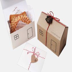 クリスマスのための家の形のクラフト紙のクッキーのギフト用の箱