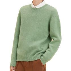 Chandail de laine pour hommes de couleur unie d'usure lâche Pull