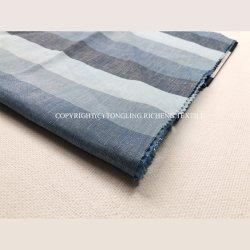 熱い販売のリネン綿織物の人のワイシャツのためのヤーンによって染められる青いカラーリネンファブリック