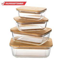 Glas met hoog borosilicaat Bamboe deksel voor voedselopslag maaltijd Prep Glass Containerset
