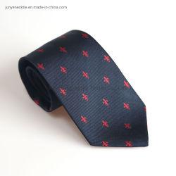 Premium 100% gewebte Navy Logo Seide Custom Krawatte für Herren Business Party Club