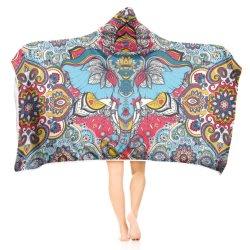 아이들 성숙한 소파 텔레비젼 던지는 담요를 위한 3D에 의하여 두건이 있는 총괄적인 산호 양털 환각적인 Hoodie 인쇄되는 담요