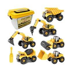 سيارات البناء سيارات البناء حفريات شاحنة لعبة مع صندوق تخزين، 6 في 1 DIY بناء التعليم هدية لعب للبنين