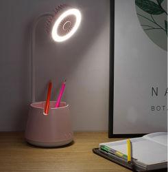 2020 Nuevo diseño del ventilador multifuncionales soporte para teléfono luz nocturna Lámpara de mesa titular de la pluma del Ventilador con LED.