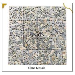300*300 مم من الحصى البيج من الفسيفساء من الحجر الطبيعي نمط فريد من نوعه مواد تزيين الجدار
