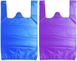 Sacchetto impaccante dei rifiuti stampato rullo biodegradabile dell'elemento portante dei prodotti della maglietta di plastica piana della drogheria con stampa di marchio