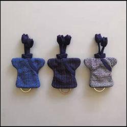 Plaid puro Cheongsam Homespun Keychain del cotone di stile cinese (piccolo)