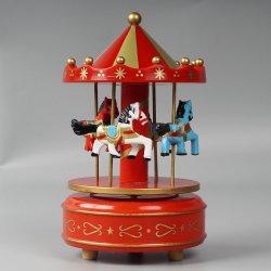 도매 Xmas Carrossel 장식적인 플라스틱 및 나무로 되는 Handcranked 음악 상자 아이 장난감을%s 회전 목마 회전 목마