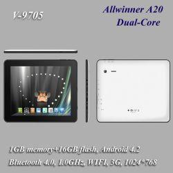 كمبيوتر لوحي بحجم 9.7 بوصة بنظام Android 4.2، 3G+WiFi+Bluetooth، وظيفة كاملة