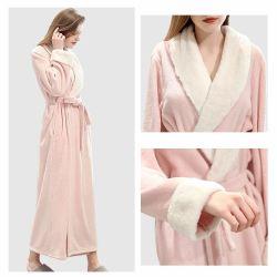 Weiche warme Frauen-KimonoSleepwearnightgown-Winter BADEKURORT Robe plus Größen-Baumwollwaffel-langen Bademantel