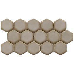Nunca se desvanecerá reciclar 3 Hexágono Mosaico de vidrio marrón
