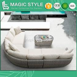 陶磁器のガラス庭の藤の単一のソファーの屋外の現代ソファーの椅子の藤の編む家具の柳細工のコーヒーテーブルとセットされるテラスの柳細工のソファー