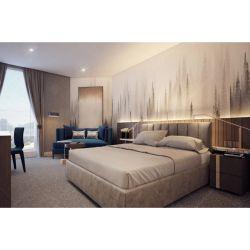 Foshan moderno Hotel fabricante de móveis quarto de madeira escura utilizar Base de Aço Inoxidável