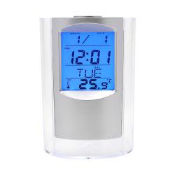 Calendário do desktop personalizado porta-canetas com relógio digital/data/display da temperatura