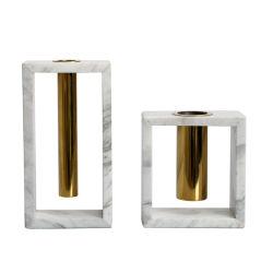 Nuevo Diseño de lujo en jarrón de mármol blanco de mármol de arreglo de flores secas Jarrón de flores