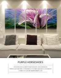Fleurs violet fleur mur de métal peinture d'art, de grandes fleurs Décoration contemporaine, Mur 3D'Art pour la décoration moderne et contemporain