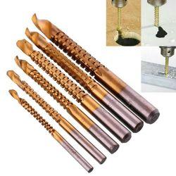 6pcs percer Power Tool percer le bois de coupe en acier à haute vitesse Twist perceuse en dents de scie