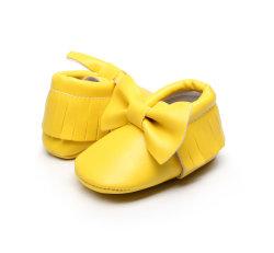 Девочка обувь мокасины лук PU кожаный мягкий Soled частоты сердечных сокращений с вышитым обувь для новорожденных малышей Esg10364