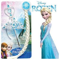 New Frozen Elsa Anna Princess Crown + ヘアピース + ワンド + グローブウィグパーティ Cosplay Lbh 0415