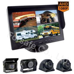 """Système de caméra de rétroviseur d'excavateur minier avec 9 """" Moniteur de doubleur de gamme Quad"""