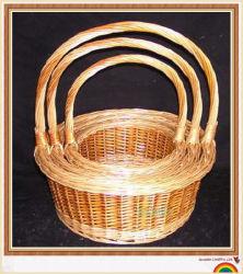 Comida de flores de frutos de vime cestaria cesto de armazenamento de madeira