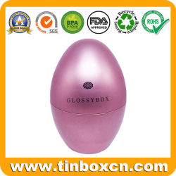 Stagno Premium dell'uovo del contenitore di metallo di Uovo-Figura con stampa lucida della vernice per l'imballaggio del regalo della caramella di cioccolato
