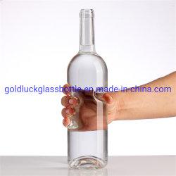 Pescoço comprido lado Whisky Vodka Oco frascos de vidro de álcool de vinho Personalizado Tequila Moscato Gin garrafa de vidro azul de cerâmica