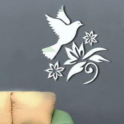 Pomba da paz Pigeon Flores ramos de oliveira Crystal Reflective DIY 3D efeito de espelho autocolantes de parede