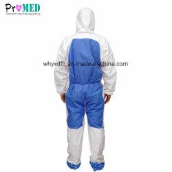 SMSの通気性の防水防護衣の安全使い捨て可能なマイクロフィルムの布のつなぎ服の全面的な服装と微小孔のある企業の織物