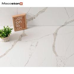 Полированный белого слоя Artifical Calacatta кварцевого камня в таблицу в левом противосолнечном козырьке