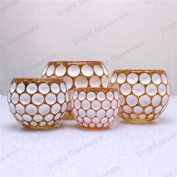 Новая конструкция Ectroplated Gold хрустальное стекло свеча вотиве держатель для подарков