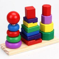 Montessori hölzerner Baby-Ausbildungs-Spielzeug-Regenbogen-stapelbarer Kugel-Aufsatz für Kleinkind