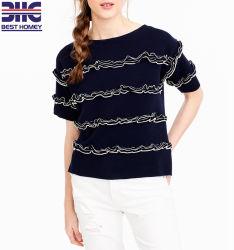 Mangas curtas de algodão Casual Suéter Detalhe Ruffles feminina mulheres