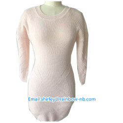 Venda por grosso de 100%Acrylic senhoras de malha da camisola Longa