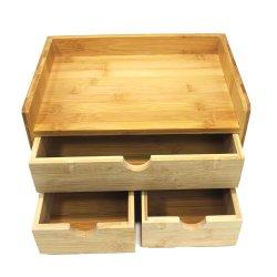 Organiser a ripiani in bambù a 3 piani per scrivania con cassetti