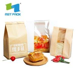 Ecológico Pouch fecho zip comida Kraft biodegradável secas saco de papel para o chá de pão