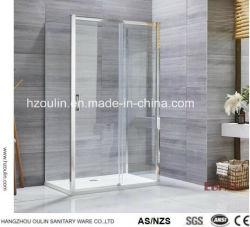 더블 슬라이딩 샤워 도어 유리 샤워 도어 CE 인증 획득