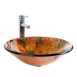 ベッセルシンクホテルサニタリーバスルームショップカウンターデザインテーブルトップ ガラス製の洗面台