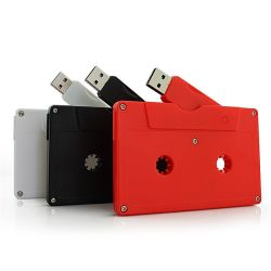 سعر المصنع هدية ترويجية بلاستيك شريط كاسيت صوت مغناطيسي USB محرك أقراص محمول سعة 128 ميجابايت بقلادة سعة 128 جيجابايت مع شعار مخصص