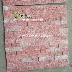 珪岩の自然な壁のクラッディングの石のLedgestoneのピンクのきのこの石塀