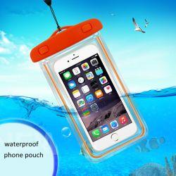 Coperchio impermeabile luminoso della cassa del telefono del PVC per il sacchetto trasparente subacqueo del sacchetto di iPhone 6 dello schermo attivabile al tatto del telefono delle cellule della prova mobile dell'acqua