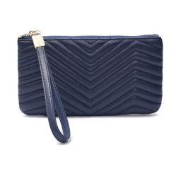 Sac de peau d'agneau matelassé Téléphone Long Wallet pour le téléphone 3 utilise les femmes sac sac à main d'embrayage Al345