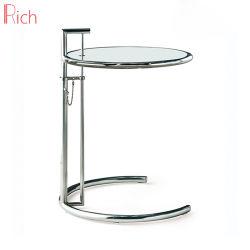 Прозрачный круглый стол со стороны кофе из закаленного стекла серебристый корпус из нержавеющей стали для рамы с одной спальней и гостиной